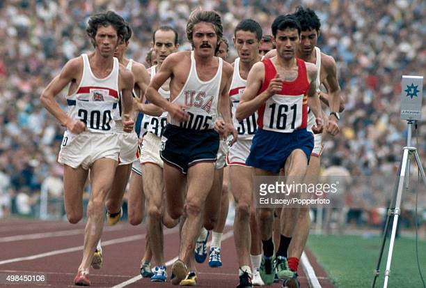 Mariano Haro of Spain leading Ian McCafferty of Great Britain Harald Norpoth of Germany Steve Prefontaine of the United States Ian Stewart and Dave...