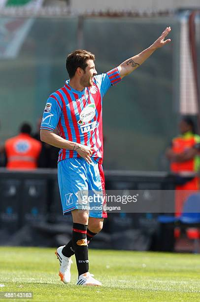 Mariano Izco of Catania celebrates after scoring his team's second goal during the Serie A match between Calcio Catania and AS Roma at Stadio Angelo...