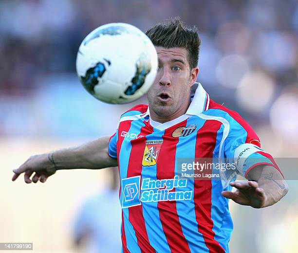 Mariano Izco of Catania during the Serie A match between Catania Calcio and SS Lazio at Stadio Angelo Massimino on March 18 2012 in Catania Italy