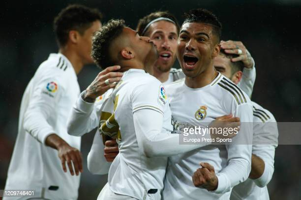 Mariano of Real Madrid celebrates a goal during the Spanish League, La Liga, football match played between Real Madrid CF and FC Barcelona at...