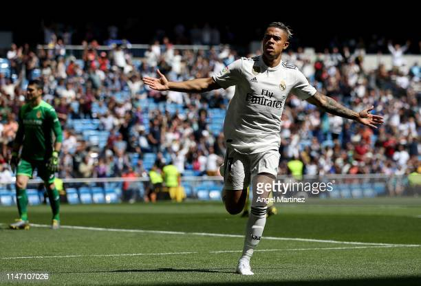Mariano of Real Madrid celebrates after scoring his team's first goal during the La Liga match between Real Madrid CF and Villarreal CF at Estadio...