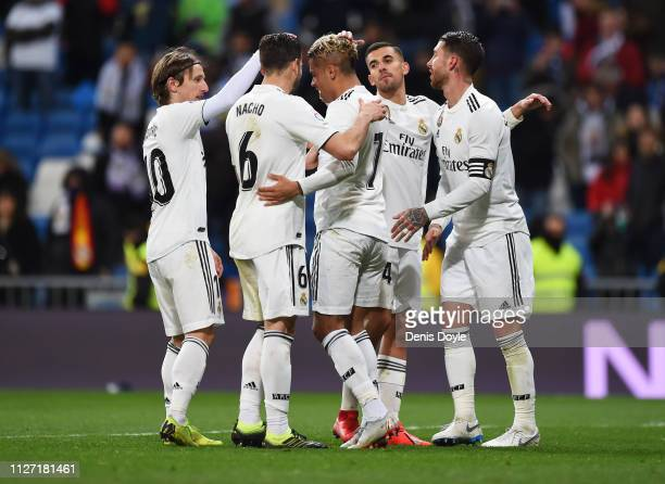 Mariano of Real Madrid celebrates after scoring his team's third goal with team mates during the La Liga match between Real Madrid CF and Deportivo...