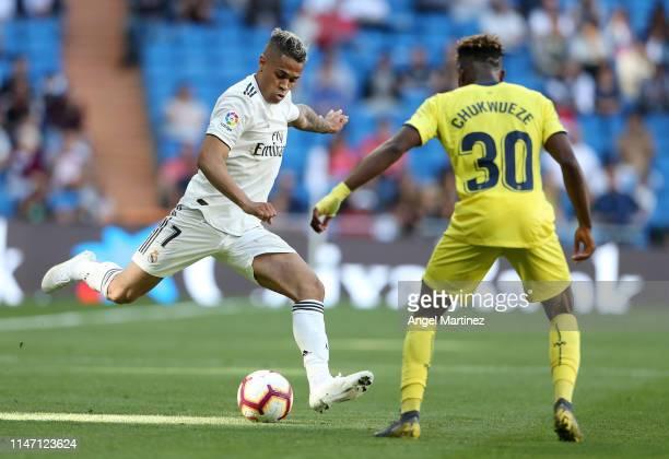 Mariano of Real Madrid in action during the La Liga match between Real Madrid CF and Villarreal CF at Estadio Santiago Bernabeu on May 05 2019 in...