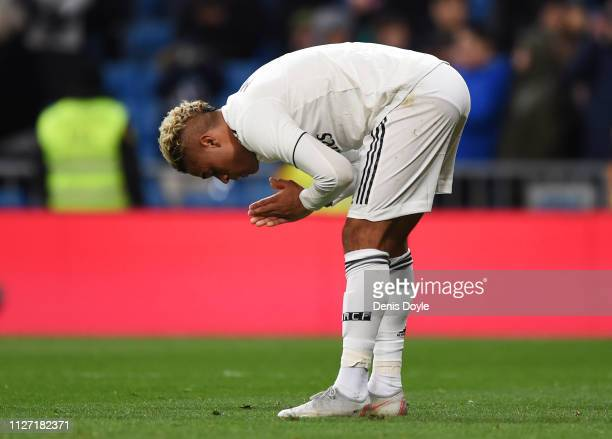 Mariano of Real Madrid reacts as he celebrates after scoring his team's third goal during the La Liga match between Real Madrid CF and Deportivo...