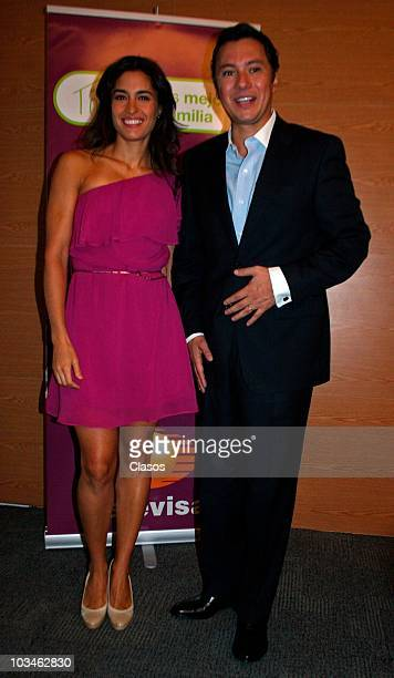Mariano Osorio and Luz Maria Zetina during the presentation of the TV Campaing Todo es Mejor En Familia of Televisa on August 19 2010 in Mexico city...