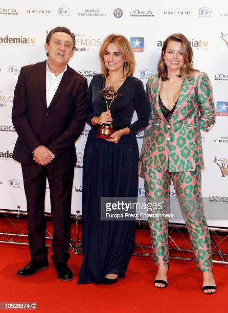 Mariano Pena Lourdes Maldonado Adriana Torrebejano attend Iris Television Awards Photocall at Kinepolis on October 23 2018 in Madrid Spain