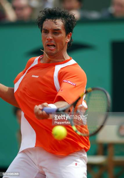 Mariano Puerta of Argentina enroute to losing the men's singles final to Rafael Nadal of Spain 76 36 16 57 during the French Open Tennis...