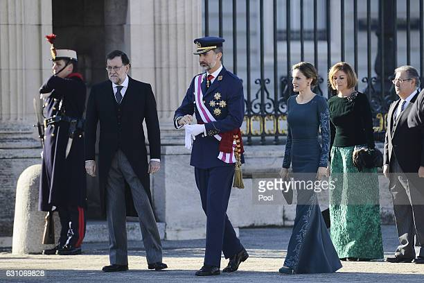 Mariano Rajoy King Felipe VI of Spain and Queen Letizia of Spain attend the Pascua Militar ceremony at the Royal Palace on January 6 2017 in Madrid...