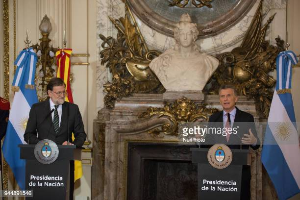 Mariano Rajoy President of Spain and Mauricio Macri President of Argentina during the press conference held at the White Room of the Casa Rosada...