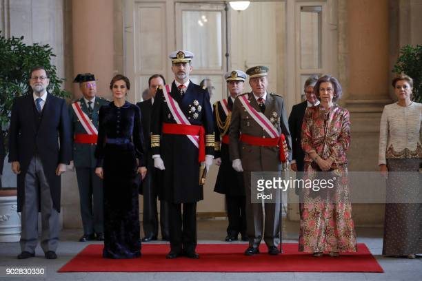 Mariano Rajoy Queen Letizia of Spain King Felipe of Spain King Juan Carlos Queen Sofia and Maria Dolores de Cospedal attend the Pascua Militar...