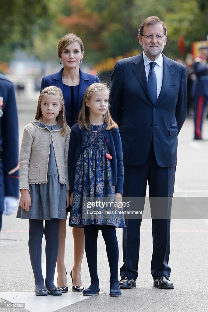 Mariano Rajoy (R), Queen Letizia of Spain, Princess Leonor and Princess Sofia (L) attend the National Day Military Parade 2015 on October 12, 2015 in Madrid, Spain.