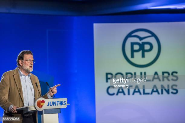 Mariano Rajoy Spain's prime minister and leader of the People's Party gestures as he speaks during an election campaign event in Barcelona Spain on...