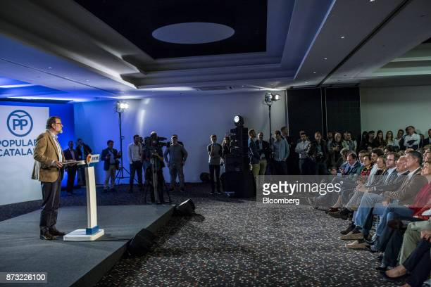 Mariano Rajoy Spain's prime minister and leader of the People's Party speaks during an election campaign event in Barcelona Spain on Sunday Nov 12...