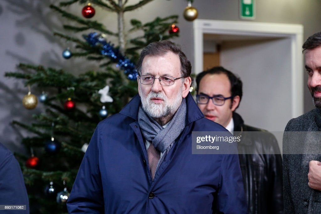 Mariano Rajoy, Spain's prime minister, leaves after attending a European Union (EU) leaders summit at the Europa Building in Brussels, Belgium, early on Friday, Dec. 15, 2017. U.K. Prime Minister Theresa May asked European leaders to be creative and to persevere to reach a deal when Brexit negotiations move on to trade. Photographer: Dario Pignatelli/Bloomberg via Getty Images