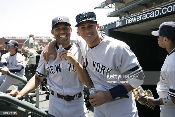 Mariano Rivera and Alex Rodriguez of the New York Yankees before the game against the San Francisco Giants at ATT Park in San Francisco California on...