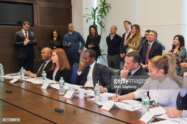 Mariano Rivera Diana Olick Cedric Bobo Alex Rodriguez and Jennifer Lopez attend 'Project Destined' Yankees Shark Tank Presentations at Yankee Stadium...