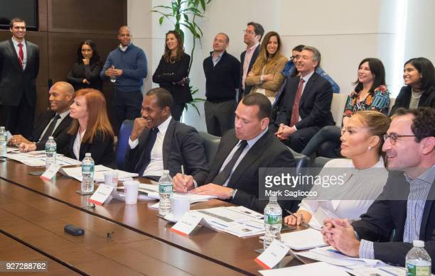 Mariano Rivera Diana Olick Cedric Bobo Alex Rodriguez Jennifer Lopez and Jon Gray attend 'Project Destined' Yankees Shark Tank Presentations at...