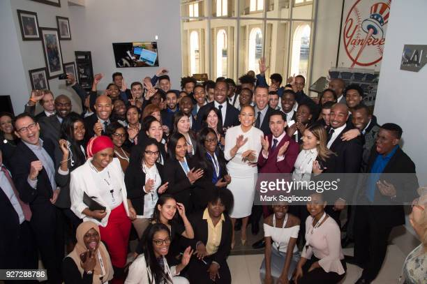 Mariano Rivera Diana Olick Cedric Bobo Alex Rodriguez Jennifer Lopez Jon Gray and Team Contestants attend 'Project Destined' Yankees Shark Tank...