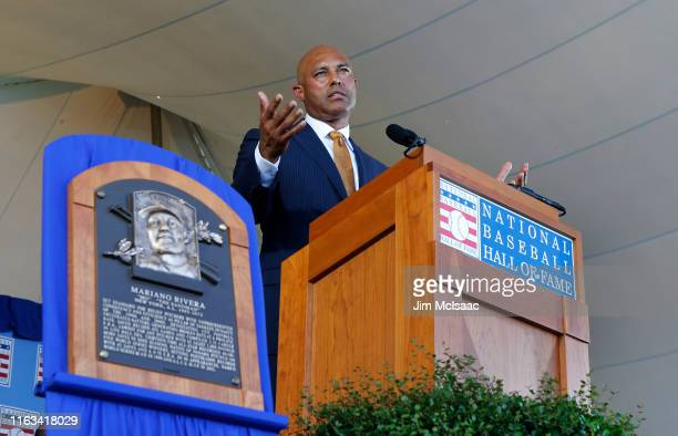 Mariano Rivera gives his speech during the Baseball Hall of Fame induction ceremony at Clark Sports Center on July 21, 2019 in Cooperstown, New York.