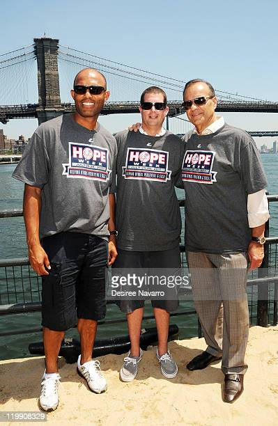 Mariano Rivera Mentor of the Year Keith Pryde and Former Yankees Manager Joe Torre attend the Yankees' Surprise Beach Party during HOPE Week 2011at...