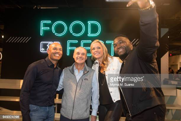 Mariano Rivera MLB commissioner Rob Manfred Heidi Watney and David Ortiz take a selfie the first annual Major League Baseball FoodFest on April 20...