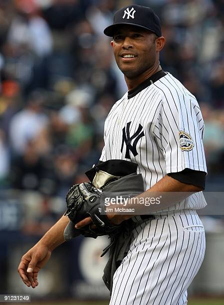 Mariano Rivera of the New York Yankees celebrates after his team defeated the Boston Red Sox on September 27, 2009 at Yankee Stadium in the Bronx...