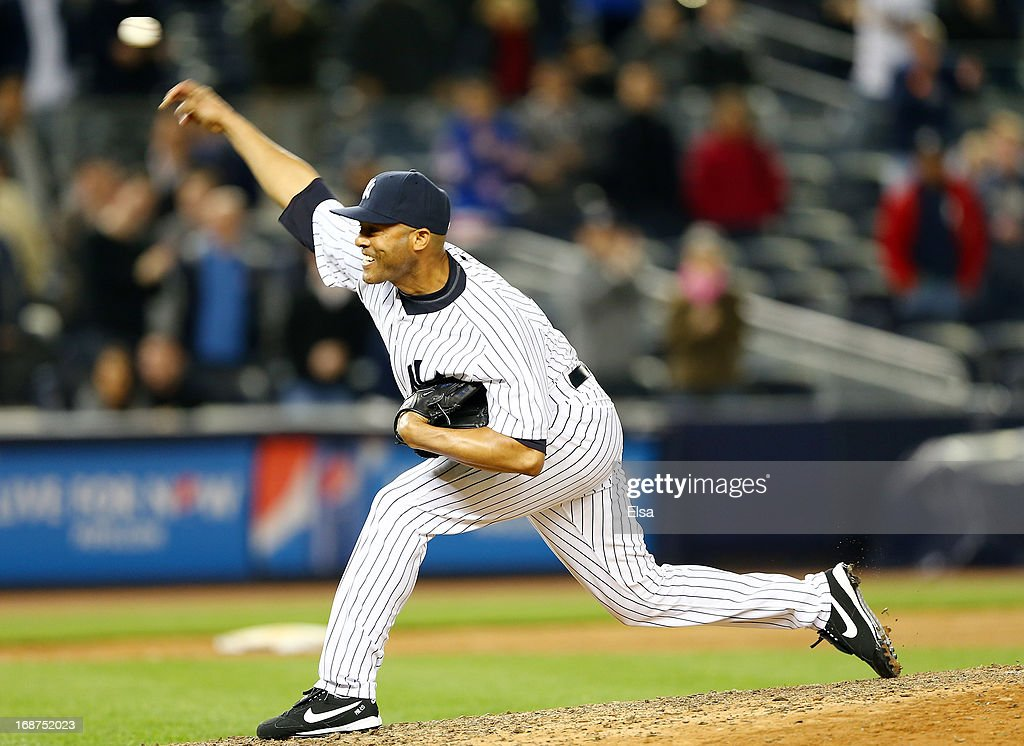 Mariano Rivera #42 of the New York Yankees delivers a pitch in the ninth inning against the Seattle Mariners on May 14, 2013 at Yankee Stadium in the Bronx borough of New York City.The New York Yankees defeated the Seattle Mariners 4-3.