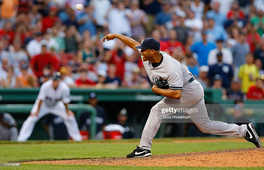 Mariano Rivera #42 of the New York Yankees pitches against the Boston Red Sox during the game on July 20, 2013 at Fenway Park in Boston, Massachusetts.