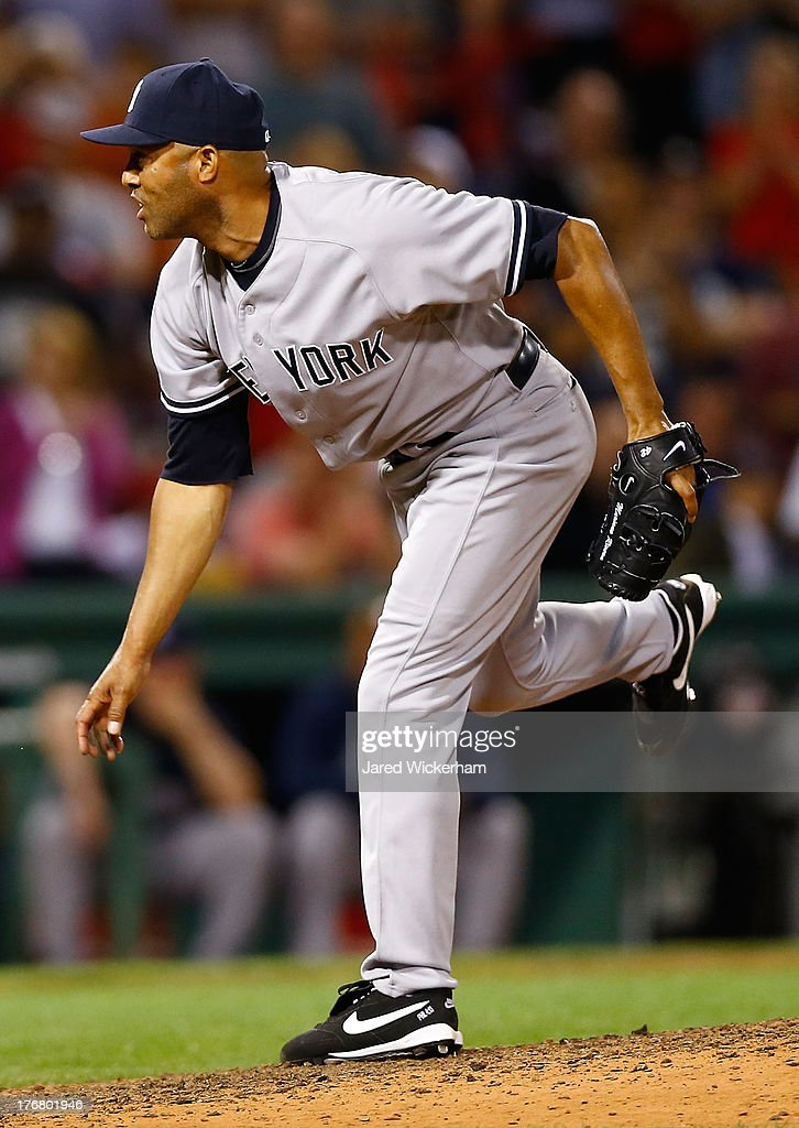Mariano Rivera #42 of the New York Yankees pitches against the Boston Red Sox during the game on August 19, 2013 at Fenway Park in Boston, Massachusetts.