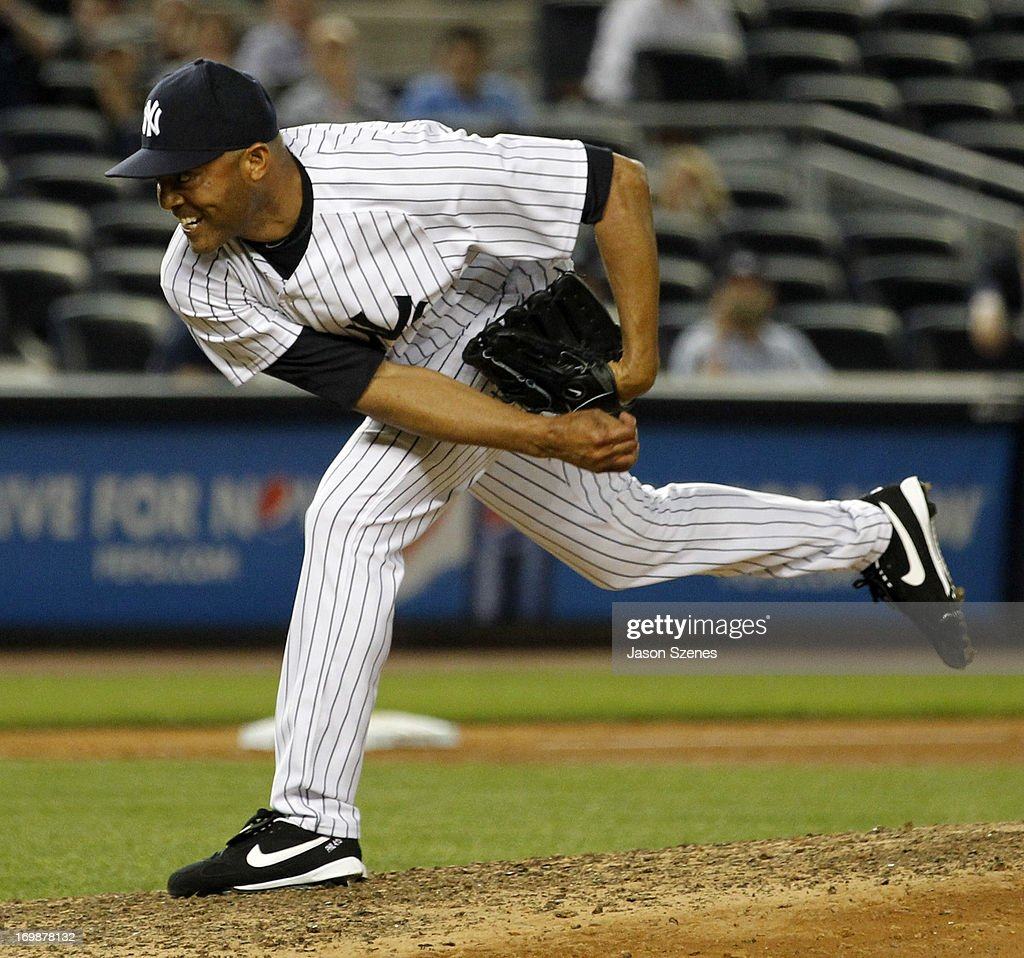 Mariano Rivera #42 of the New York Yankees pitches against the Cleveland Indians at Yankees Stadium on June 3, 2013 in the Bronx borough of New York City. (Photo by Jason Szenes/Getty Images