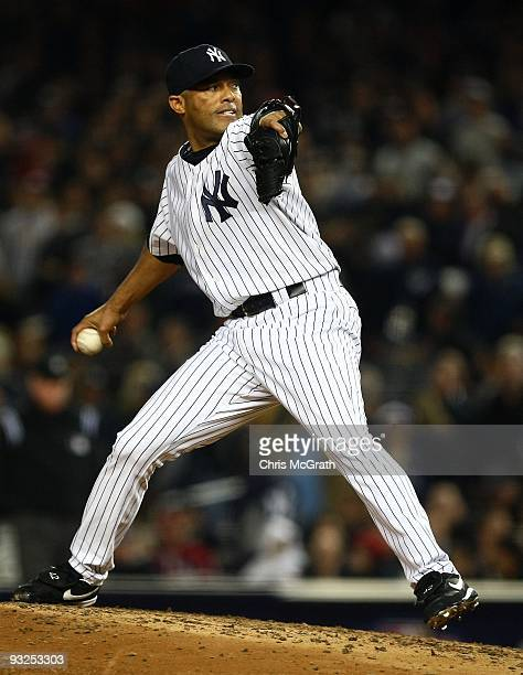 Mariano Rivera of the New York Yankees pitches against the Philadelphia Phillies in Game Two of the 2009 MLB World Series at Yankee Stadium on...