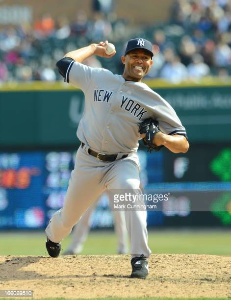 Mariano Rivera of the New York Yankees pitches during the game against the Detroit Tigers at Comerica Park on April 7 2013 in Detroit Michigan The...