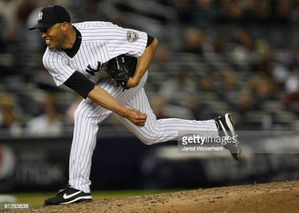 Mariano Rivera of the New York Yankees pitches in the 9th inning against the Kansas City Royals during the game on September 30, 2009 at Yankee...
