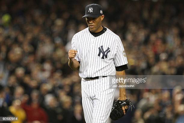 Mariano Rivera of the New York Yankees reacts after closing the eighth inning against the Philadelphia Phillies in Game Two of the 2009 MLB World...