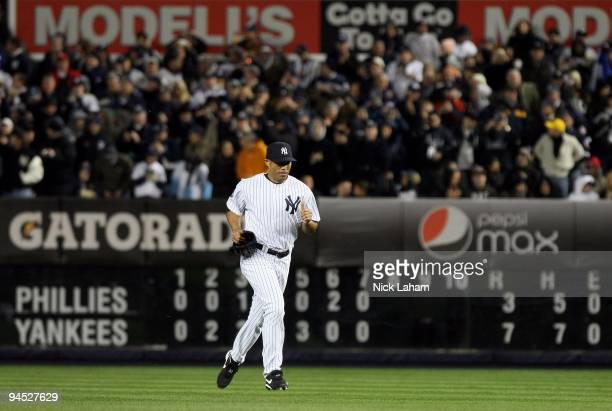 Mariano Rivera of the New York Yankees runs out from the bullpen to pitch against the Philadelphia Phillies in Game Six of the 2009 MLB World Series...