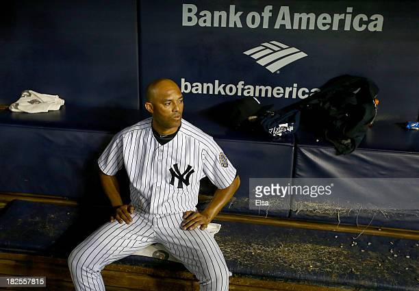 Mariano Rivera of the New York Yankees sits in the dugout after the game against the Tampa Bay Rays on September 26, 2013 at Yankee Stadium in the...