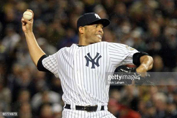 Mariano Rivera of the New York Yankees throws a pitch against the Philadelphia Phillies in Game Six of the 2009 MLB World Series at Yankee Stadium on...