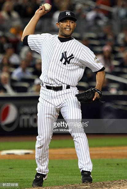 Mariano Rivera of the New York Yankees throws against the Boston Red Sox on September 26, 2009 at Yankee Stadium in the Bronx borough of New York...