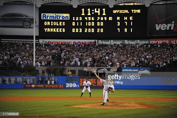 Mariano Rivera of the New York Yankees throws the last pitch of the game against the Baltimore Orioles during the final game ever at Yankee Stadium...