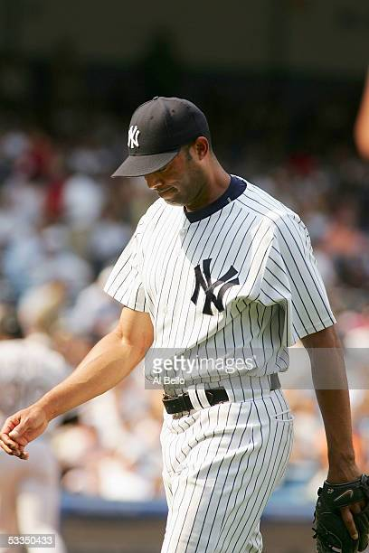 Mariano Rivera of the New York Yankees walks off the mound after giving up the winning hit to Scott Podsednik of the Chicago White Sox during the...