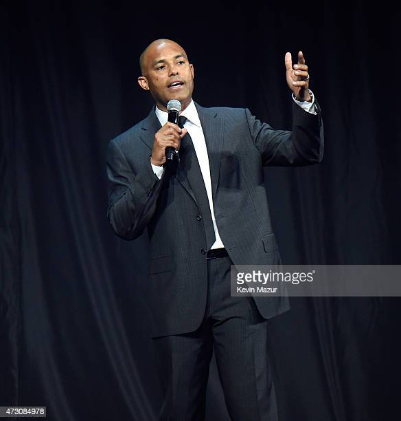Mariano Rivera speaks onstage at The Robin Hood Foundation's 2015 Benefit at Jacob Javitz Center on May 12 2015 in New York City