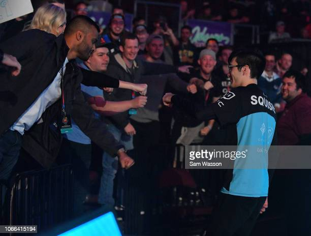 Mariano 'SquishyMuffinz' Arruda of team Cloud9 greets fans during a break in the grand finals match of the Rocket League Championship Series World...