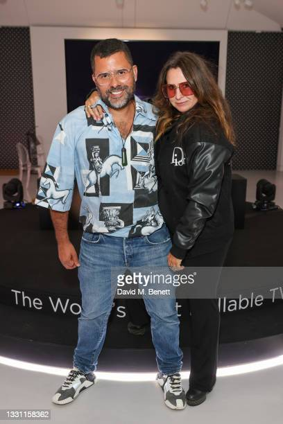 Mariano Vivanco and Fran Cutler attend the the LG SIGNATURE rollable television launch at Cromwell Place on July 28, 2021 in London, England.