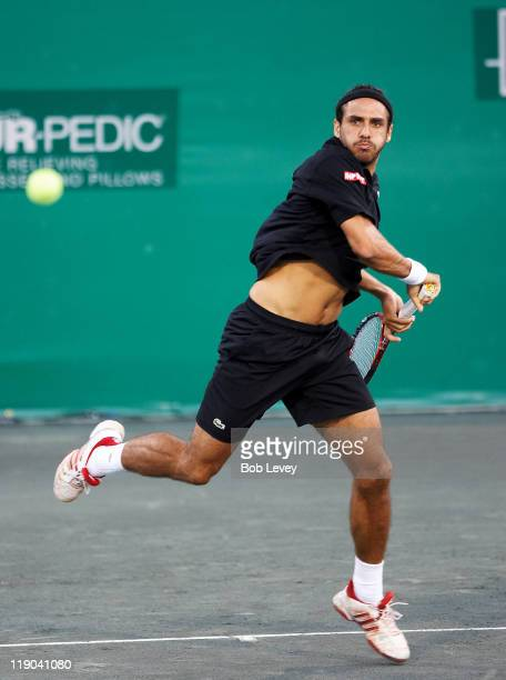 Mariano Zabaleta hits a return against Mardy Fish. Mariano Zabaleta defeated [4]Mardy Fish 7-5 6-4 in 2nd round action at the U.S. Mens Clay Court...