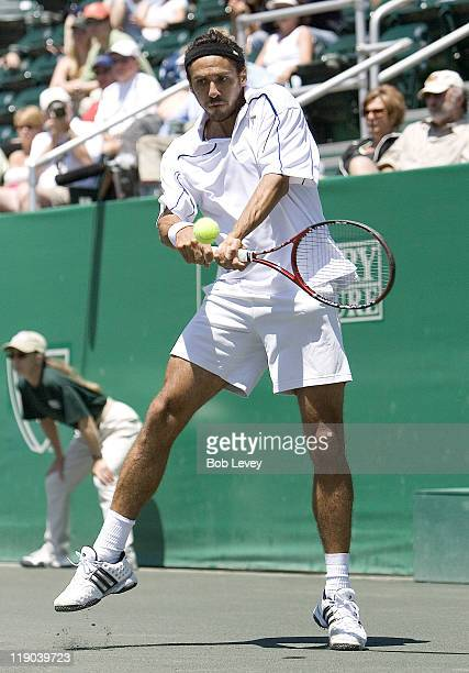 Mariano Zabaleta of Argentina against Ivo Karlovic of Croatia during the finals of the US Men's Clay Court Championships in Houston Texas on April 15...