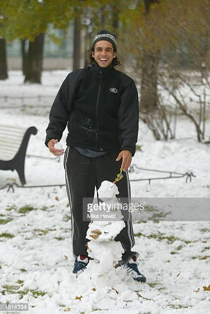 Mariano Zabaleta of Argentina enjoys the snow in the Arts Square during the ATP St Petersburg Open in St Petersburg Russian Federation on October 22...