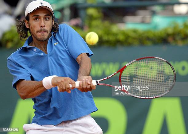 Mariano Zabaleta of Argentina in action during his match against Mark Philippoussis of Australia during the ATP 2004 ARAG World Team Cup at the...