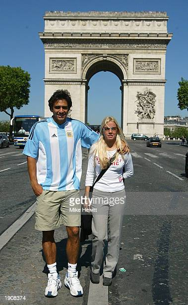 Mariano Zabaleta of Argentina with his girlfriend Magali at the Arc de Triomphe during the French Open held on June 1 2002 at Roland Garros in Paris...