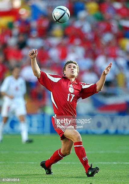 Marians Pahars of Latvia in action during the UEFA Euro 2004 Group D match between Czech Republic and Latvia at the Estadio Municipal de Aveiro on...