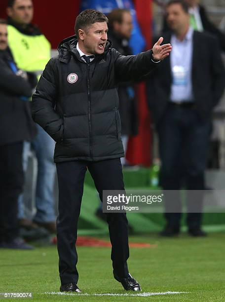 Marians Pahars the Latvia coach issues instructions during the international friendly match between Slovakia and Latvia held at Stadion Antona...